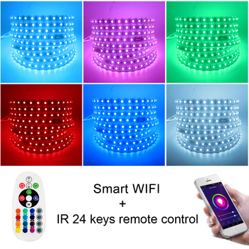 WIFI 5050 LED Strip Light RGB 24key Dálkové 220V 110V AC 120LED 60LED Flexibilní LED Pásky Lampa String Dekorace EU, USA, UK, AU Kit